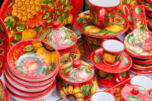 Fényképezés  Colorful hand painted pottery