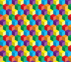 Obraz na SzkleKolorowe abstrakcyjne powtarzalne tło z kostek i kwadratów