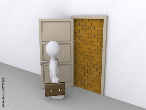 Photo  Blocked doorway and a businessman
