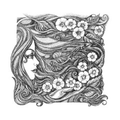Abstract graphic picture on the theme girls, flowers, floral orn