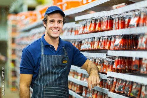 Cuadros en Lienzo  happy hardware store worker