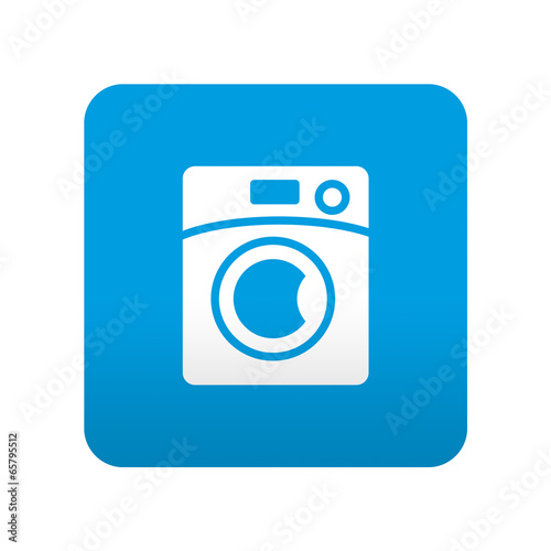 Fotografie, Obraz  Etiqueta tipo app azul simbolo lavadora
