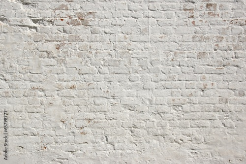Tuinposter Baksteen muur White grunge brick wall background