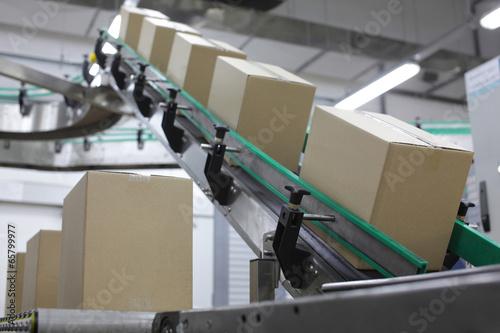 Cuadros en Lienzo Cardboard boxes on conveyor belt in factory