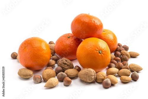 Clementinen und Nüsse Canvas Print