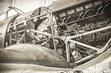 WW2 Fighter Plane With Sepia T...