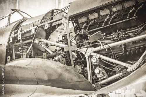 Fotografie, Obraz  WW2 fighter plane with sepia tone and grain added