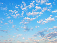 Many Little White Clouds In Blue Sky