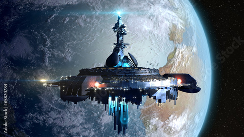 Cuadros en Lienzo Alien mothership near Earth for fantasy backgrounds