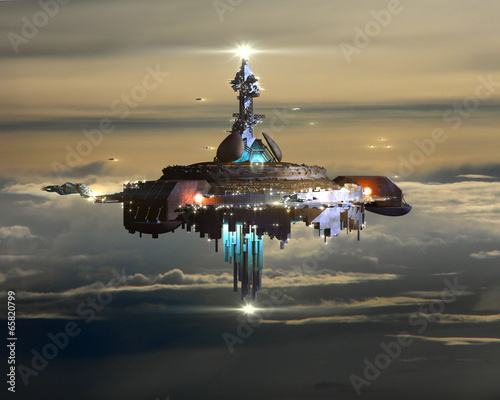 Платно Alien Mothership above clouds on Earth