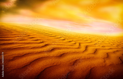 Foto op Canvas Baksteen Sunset over the Sahara Desert