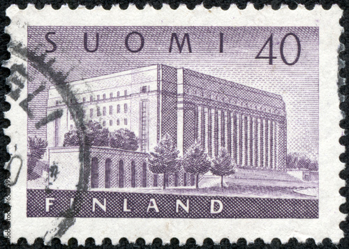 Fotografie, Obraz  stamp printed in the Finland shows House of Parliament, Helsinki
