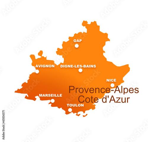 Fotografia  région provence alpes cote d'azur avec préfectures