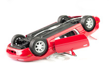 Red Sport Car Crash, Accident Isolated On White Background