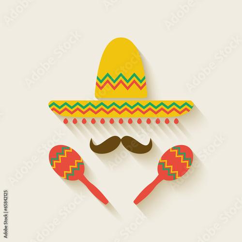 Fotografía  Mexican sombrero and  maracas