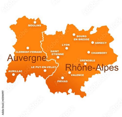 Photo régions rhône alpes et auvergne avec préfectures
