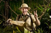 Successful Adventurer In The Jungle