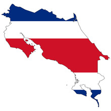 Vector Map With The Flag Inside - Costa Rica.