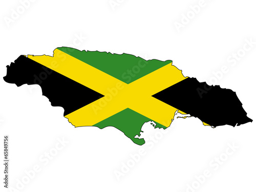 Foto  Vector map with the flag inside - Jamaica.