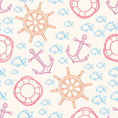 Fototapeta cute seamless marine background