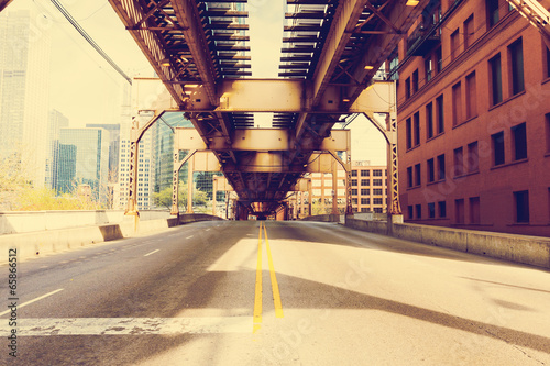 Poster Chicago Chicago Bridge - Vintage Picture Effect
