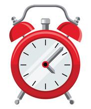 Flat Design Vector Illustration Of Vintage Alarm Clock
