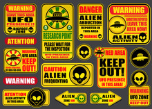Warning UFO Aliens Signs Colle...