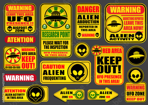 Warning UFO Aliens Signs Collection Poster