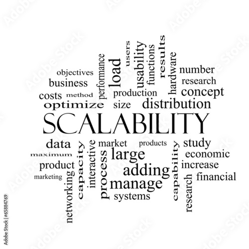 Scalability Word Cloud Concept in black and white - Buy this