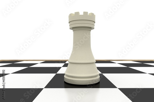 White rook on chess board Canvas-taulu