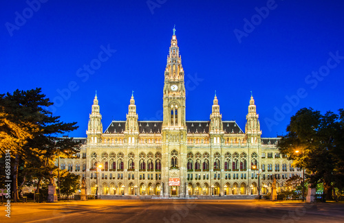 Rathaus Mayor office in Vienna, Austria Canvas Print