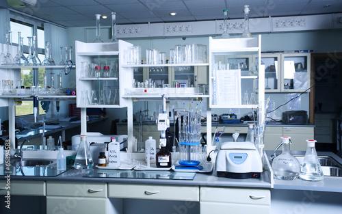 Fotografia  Chemical laboratory background. Laboratory concept.