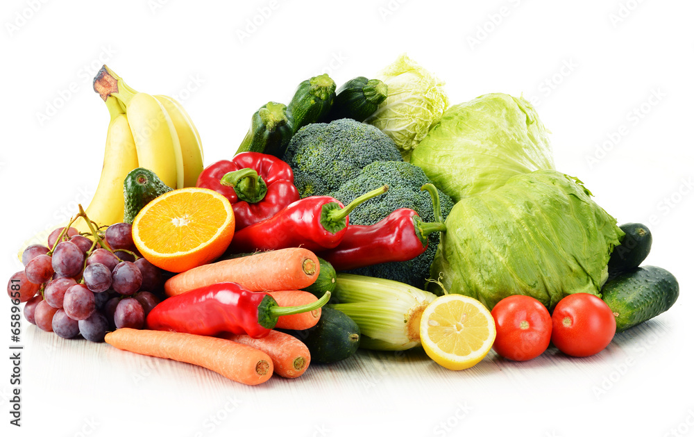 Organic vegetables isolated on white