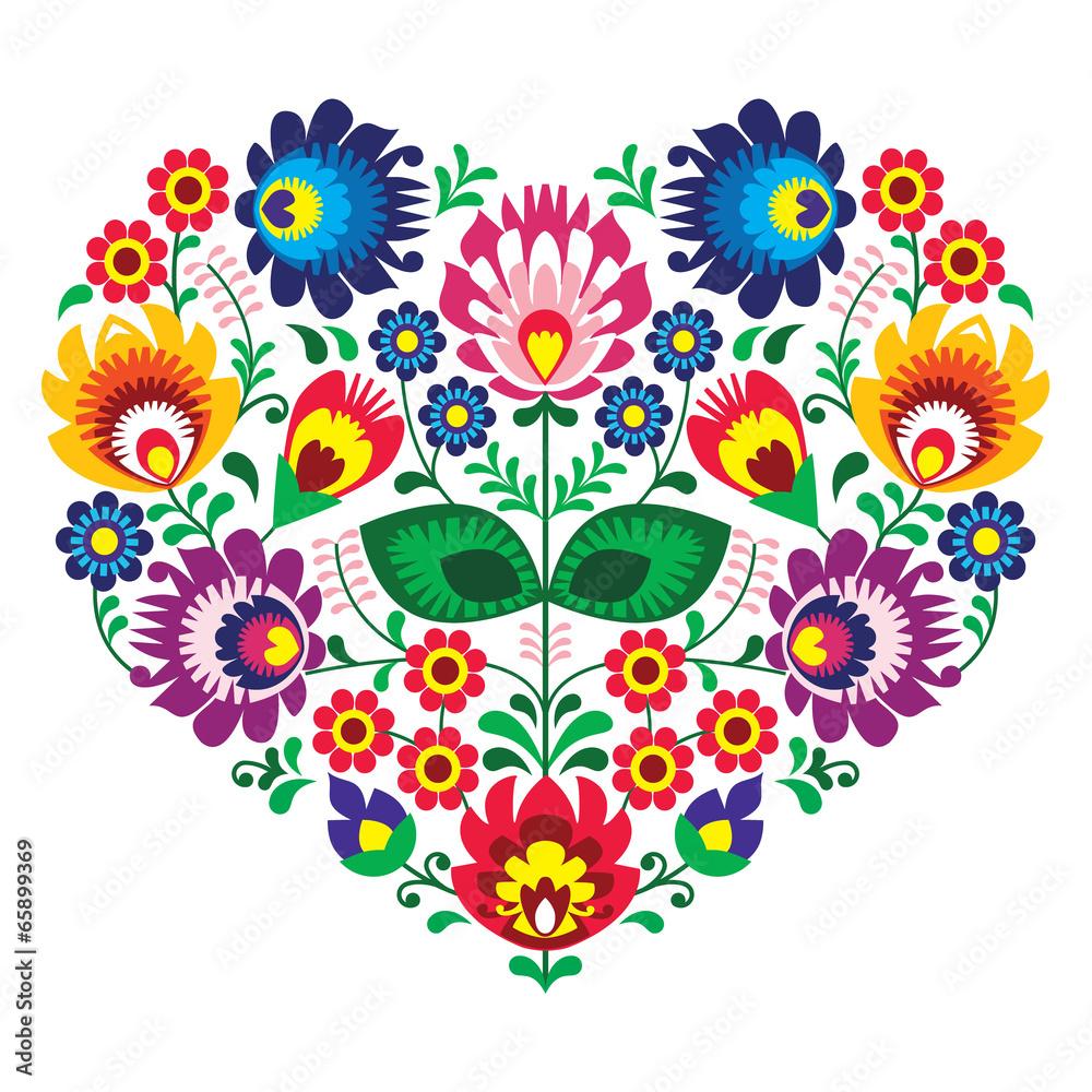 Fototapeta Polish olk art art heart embroidery  - wzory lowickie