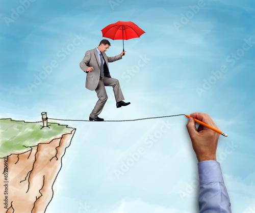 Cuadros en Lienzo Businessman on a tightrope