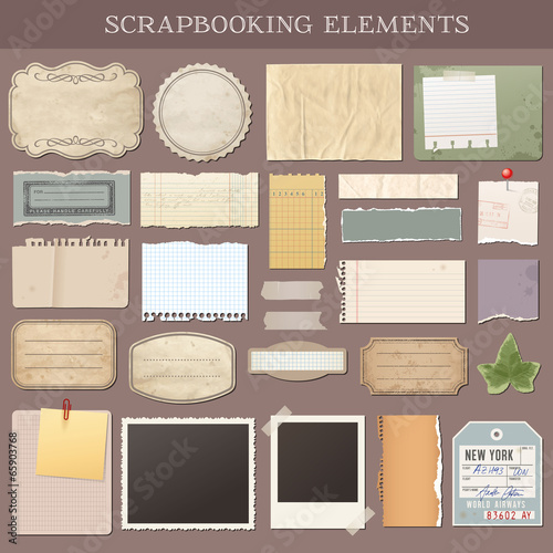 Vector Scrapbooking Elements Fotobehang