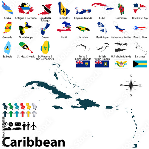 Political map of Caribbean - Buy this stock vector and explore ...