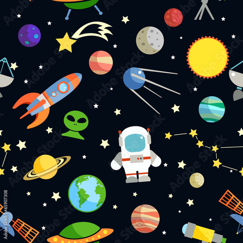 Fototapety, obrazy: Space seamless pattern
