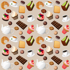 Panel Szklany Do herbaciarni Coffee and sweets seamless background