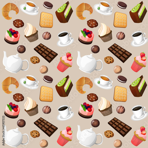 Coffee and sweets seamless background - 65907533