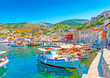 canvas print picture The beautiful main port of Hydra island in Greece