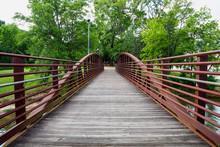 Walking Bridge In Park On Riverfront In Columbus, Georgia