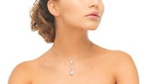 Woman Wearing Shiny Diamond Ne...
