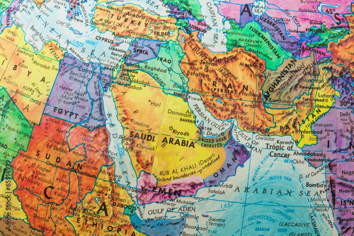 Fotografie, Tablou  Old Globe Map of The Middle East Countries
