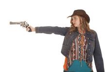Woman Western Point Gun Serious