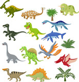 Fototapeta Dino - Dinosaur cartoon collection set