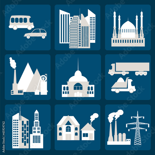 Poster de jardin Route Set of icons infrastructure city