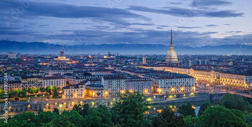 Turin (Torino), high definition panorama at twilight Canvas Print