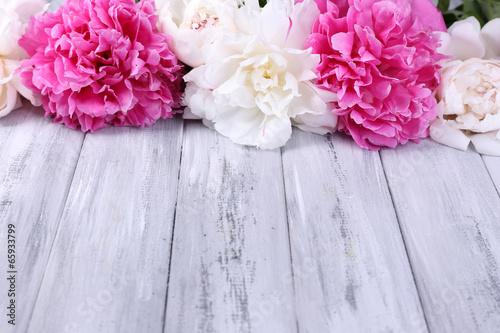 Garden Poster Floral Beautiful pink and white peonies on color wooden background