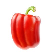Isolated Pepper. One Red Bell Pepper Isolated On White Background